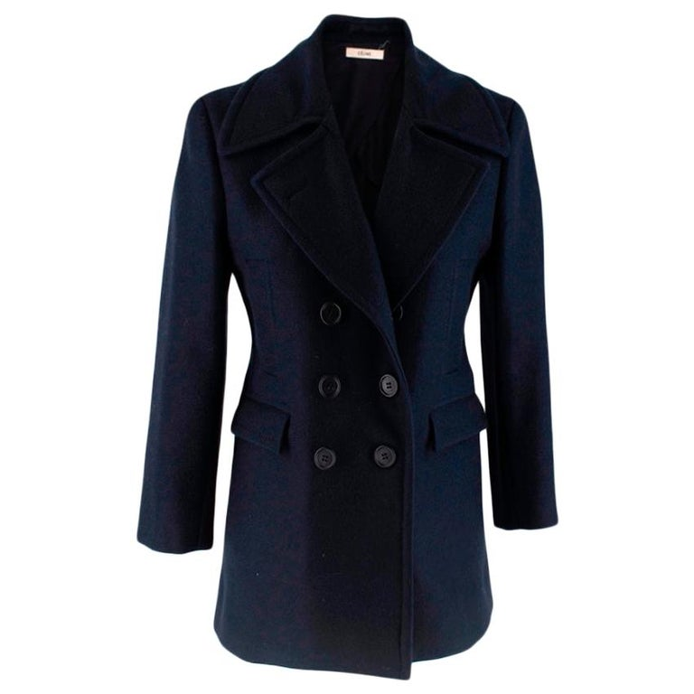 Celine Double Breasted Wool Navy Coat - Size US 6 For Sale