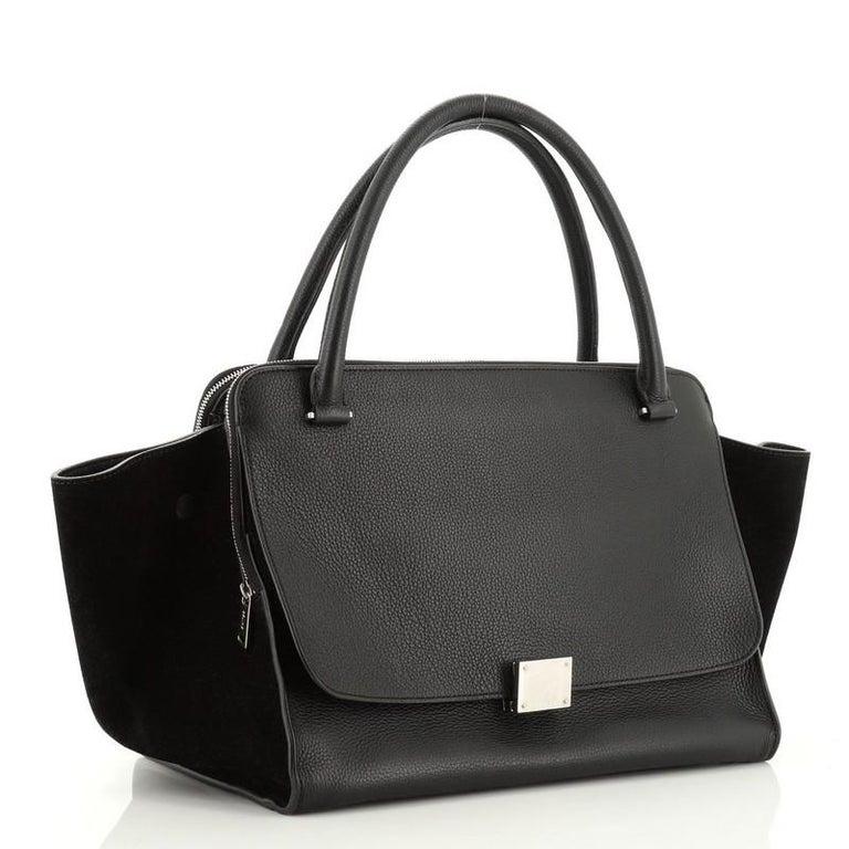 Black Celine Double Zip Trapeze Bag Leather For Sale