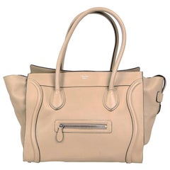 Celine Dune Drummed Calfskin Leather Luggage Shoulder Tote Bag