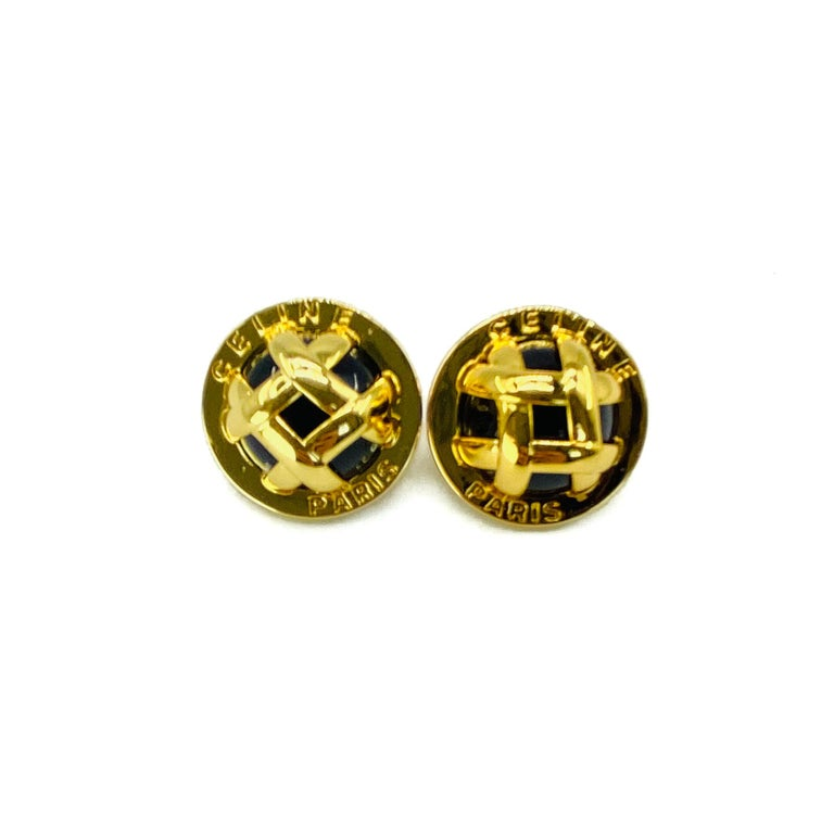 Celine Y2K Earrings for Pierced Ears  Subtle statement earrings from the amazing house of Celine   Detail - Cast from gold plated metal  - Lattice work metal laid over black enamel - Embossed with Celine Paris around the perimeter   Size & Fit -