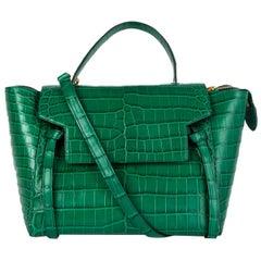 CELINE Emerald green CROCODILE MINI BELT Shoulder Bag