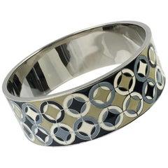 Celine Enamel and Silvered Metal Bangle Bracelet