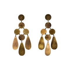 Celine Enormous Patinated Bronze Finish Earrings