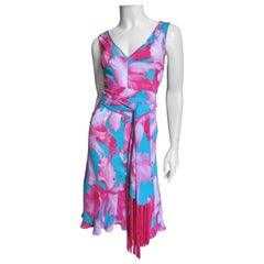 Celine Flower Print Silk Dress with Fringe Tie Belt