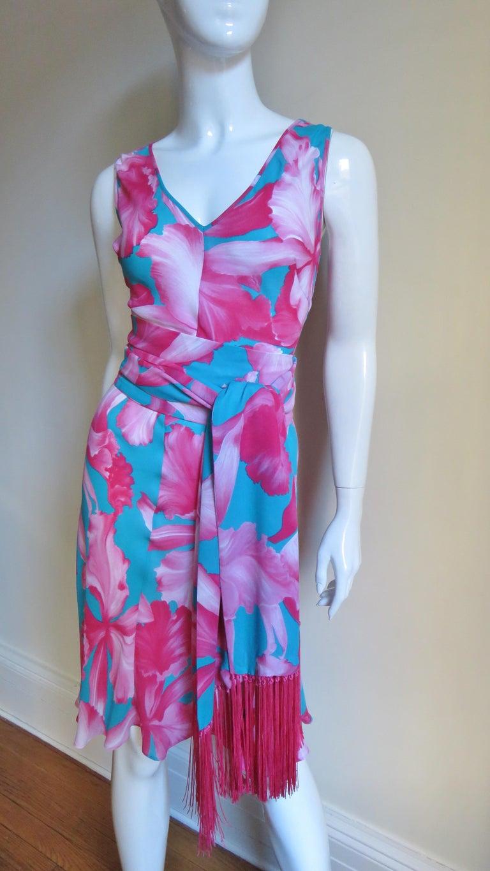 Celine Flower Print Silk Dress with Fringe Wrap For Sale 1