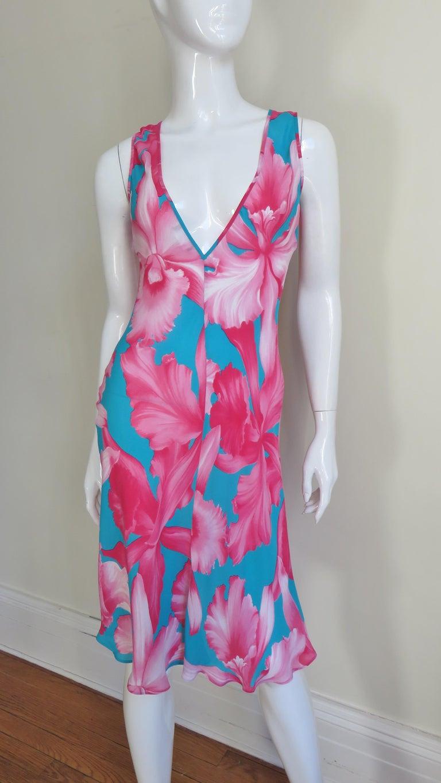Celine Flower Print Silk Dress with Fringe Wrap For Sale 2