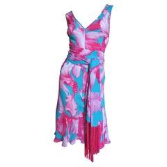 Celine Flower Print Silk Dress with Fringe Wrap