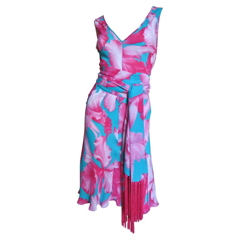 Celine Flower Print Silk Dress with Fringe Wrap For Sale