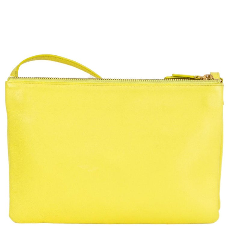 Yellow CELINE Fluo yellow leather TRIO LARGE Crossbody Shoulder Bag For Sale