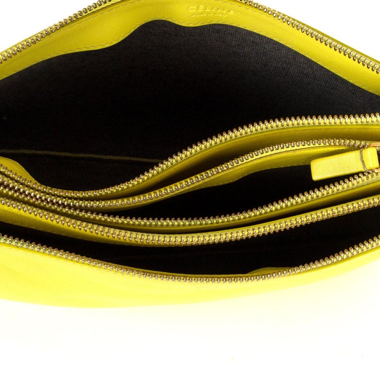 Women's CELINE Fluo yellow leather TRIO LARGE Crossbody Shoulder Bag For Sale