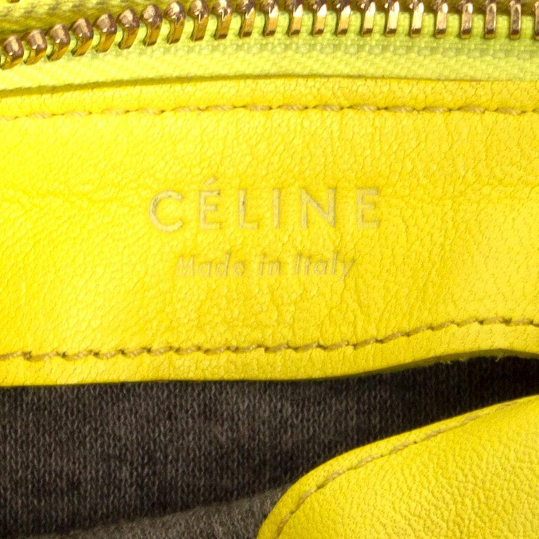 CELINE Fluo yellow leather TRIO LARGE Crossbody Shoulder Bag For Sale 1