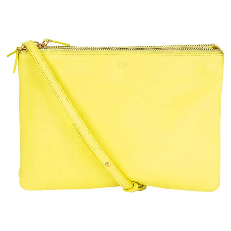 CELINE Fluo yellow leather TRIO LARGE Crossbody Shoulder Bag For Sale