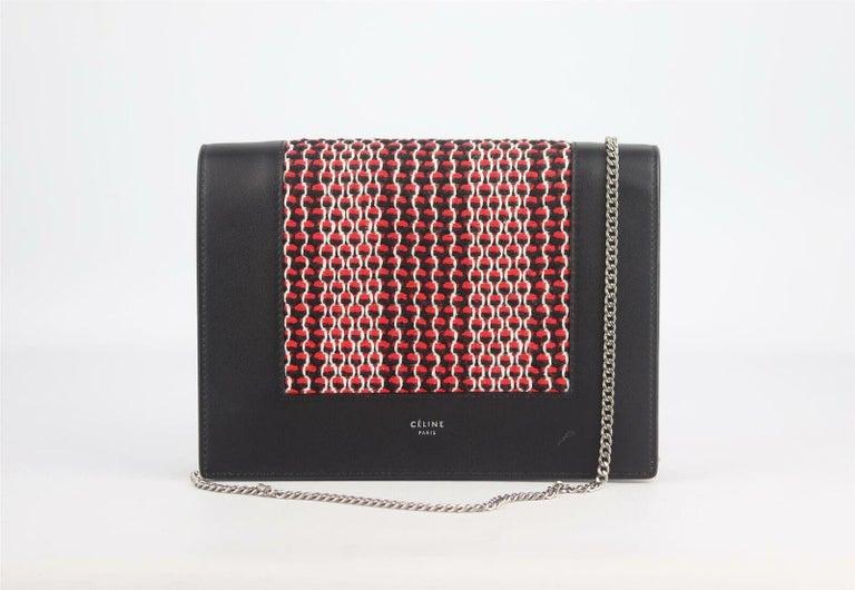 Black Celine Frame Evening Leather Trimmed Clutch On Chain Bag For Sale