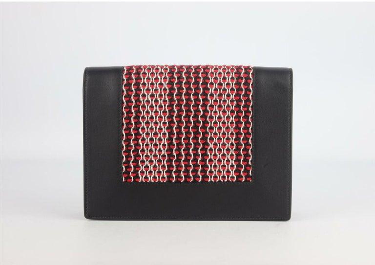 Celine Frame Evening Leather Trimmed Clutch On Chain Bag For Sale 1