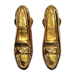 Celine Gold Loafer Shoe Earrings 1992