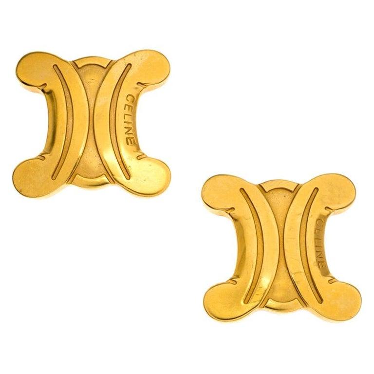 Celine Gold Metal Tone Clip On Earrings For Sale