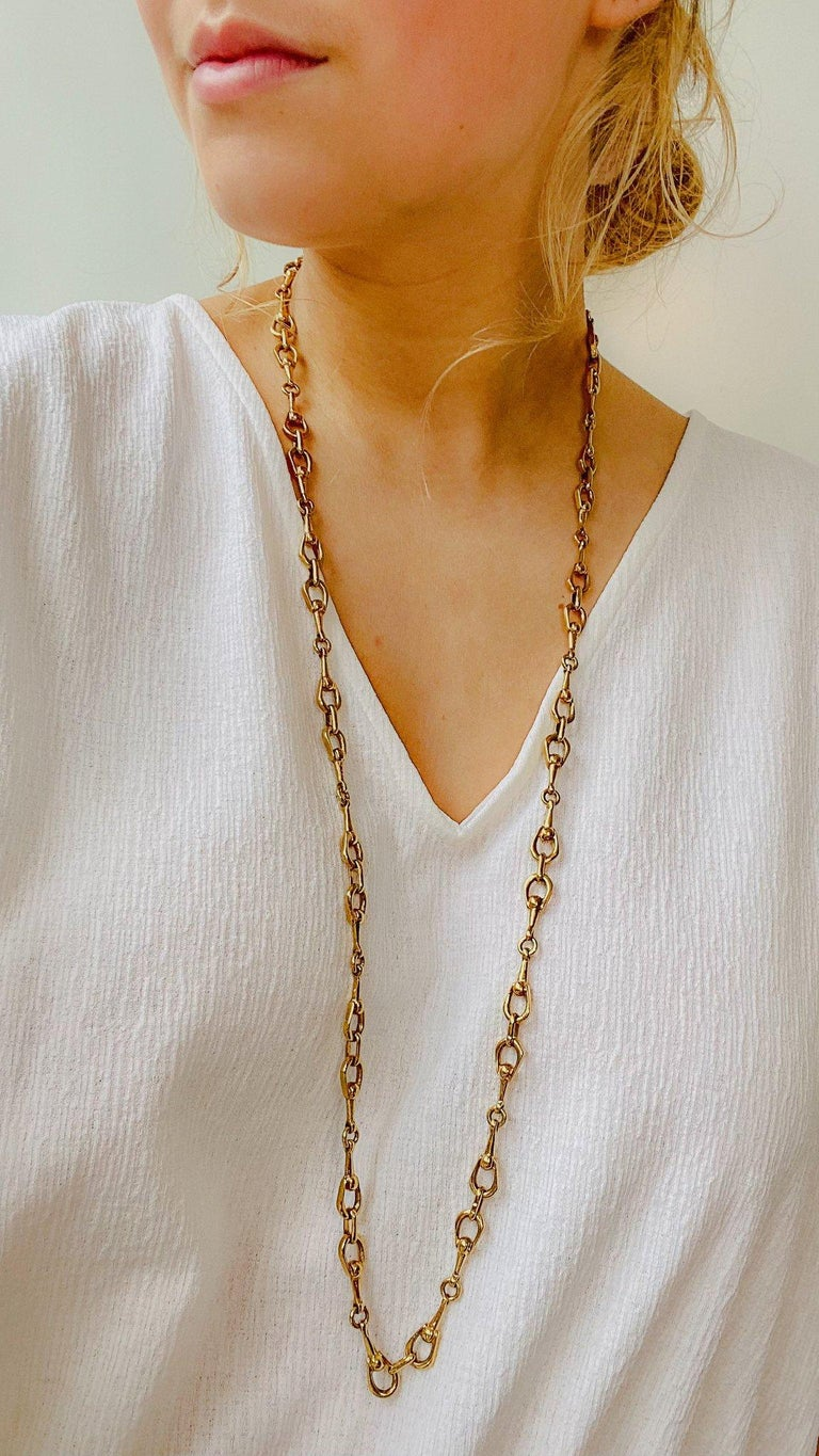 Celine 1980s Vintage Necklace Super versatile long horsebit chain from the Celine 80s archive A super versatile piece that will see you through the year day and night. Throw over tees and summer dresses for a laid back luxe feel  Detail -Made in
