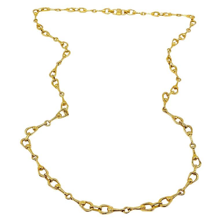 Celine Gold Plated Necklace Vintage, 1980s For Sale