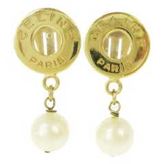 Celine Gold Round Coin Logo Charm Pearl Dangle Drop Evening Earrings