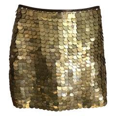 Celine Gold Sequin Mini Skirt