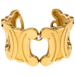 Celine Gold Tone Blazon Charm Toggle Bracelet