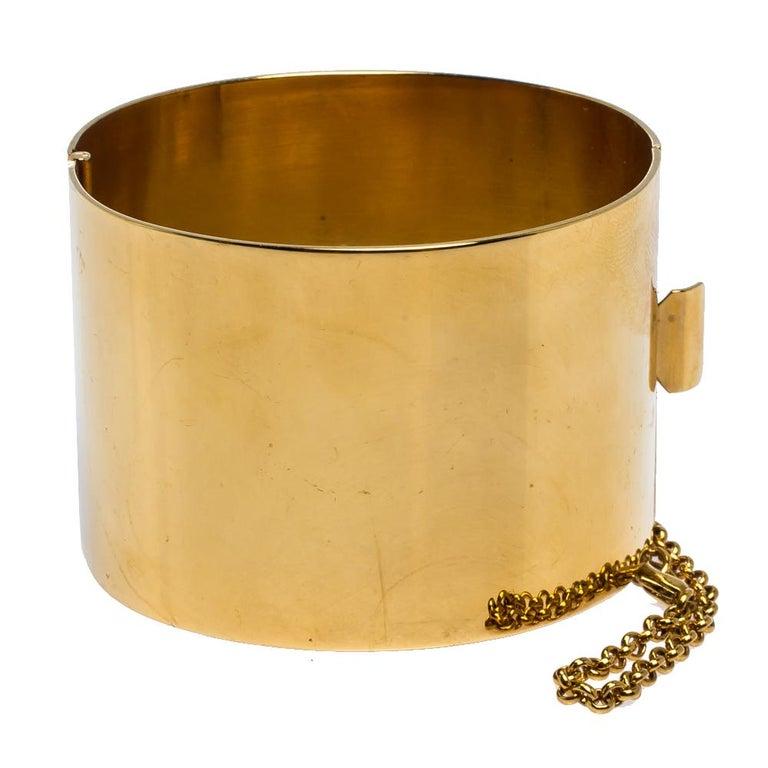 Contemporary Céline Gold Tone Wide Cuff Bracelet For Sale