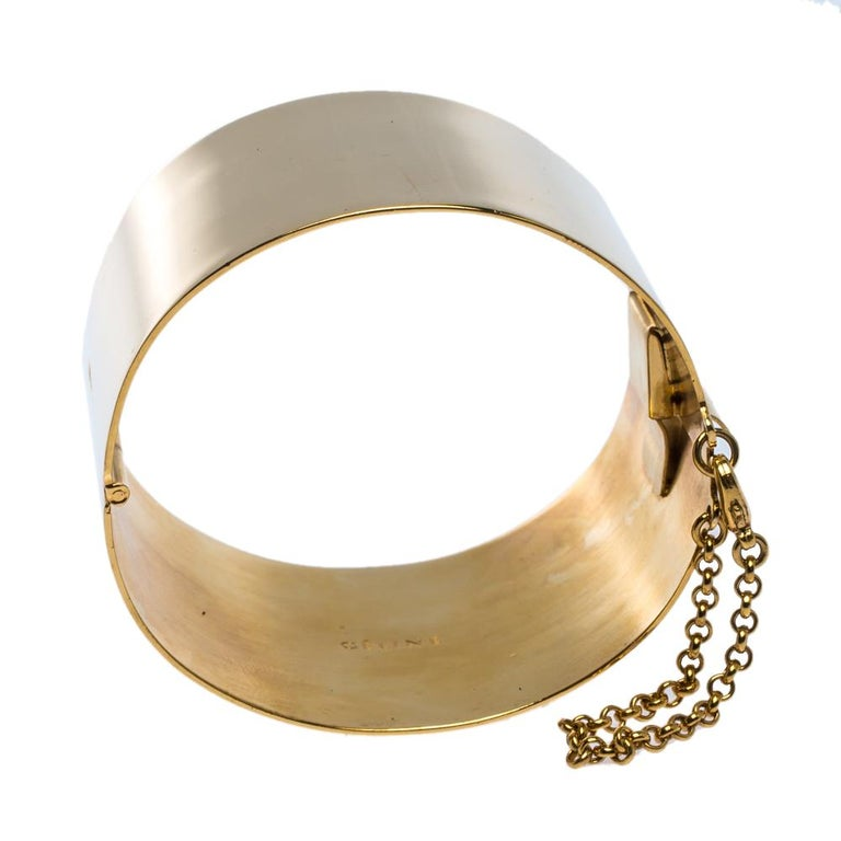 Céline Gold Tone Wide Cuff Bracelet In Fair Condition For Sale In Dubai, Al Qouz 2