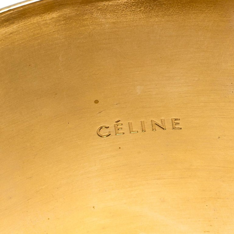 Céline Gold Tone Wide Cuff Bracelet For Sale 1