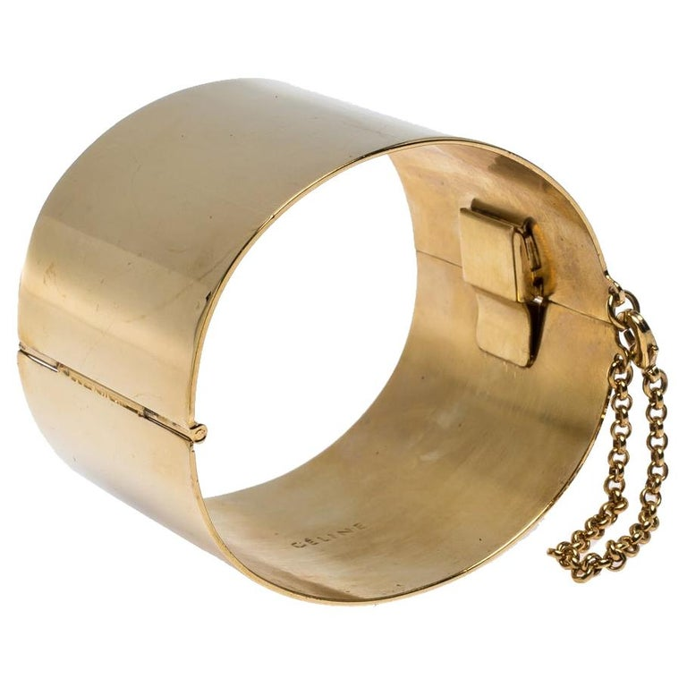 Céline Gold Tone Wide Cuff Bracelet For Sale