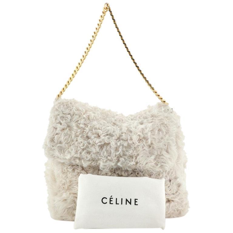 Celine Gourmette Shoulder Bag Fur Medium For Sale