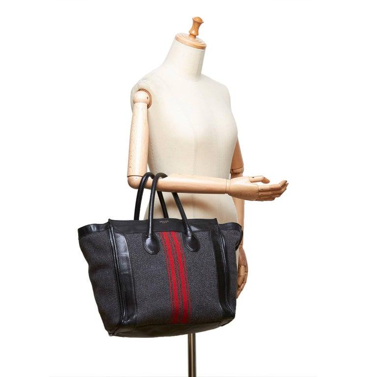 Celine Gray x MultiWool Racer Stripe Medium Luggage For Sale 5