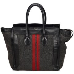 Celine Gray x Multi	Wool Racer Stripe Medium Luggage