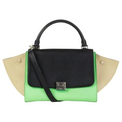 CELINE green beige black TRI-COLOR TRAPEZE SMALL Shoulder Bag