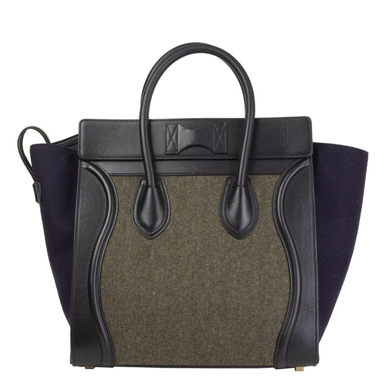 Black CELINE green black blue TRI-COLOR FELT MINI LUGGAGE Tote Bag