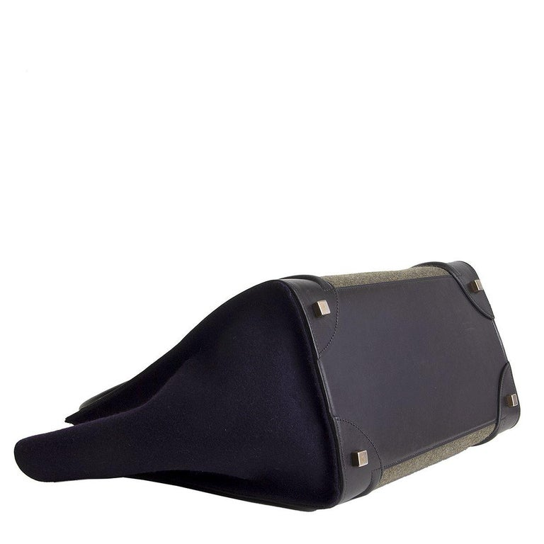 CELINE green black blue TRI-COLOR FELT MINI LUGGAGE Tote Bag In Excellent Condition In Zürich, CH