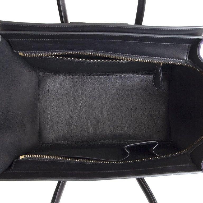 Women's CELINE green black blue TRI-COLOR FELT MINI LUGGAGE Tote Bag