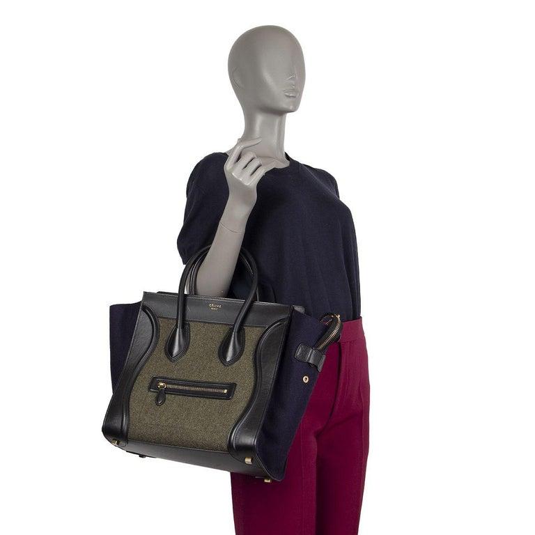 CELINE green black blue TRI-COLOR FELT MINI LUGGAGE Tote Bag 2