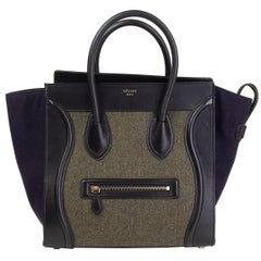 CELINE green black blue TRI-COLOR FELT MINI LUGGAGE Tote Bag