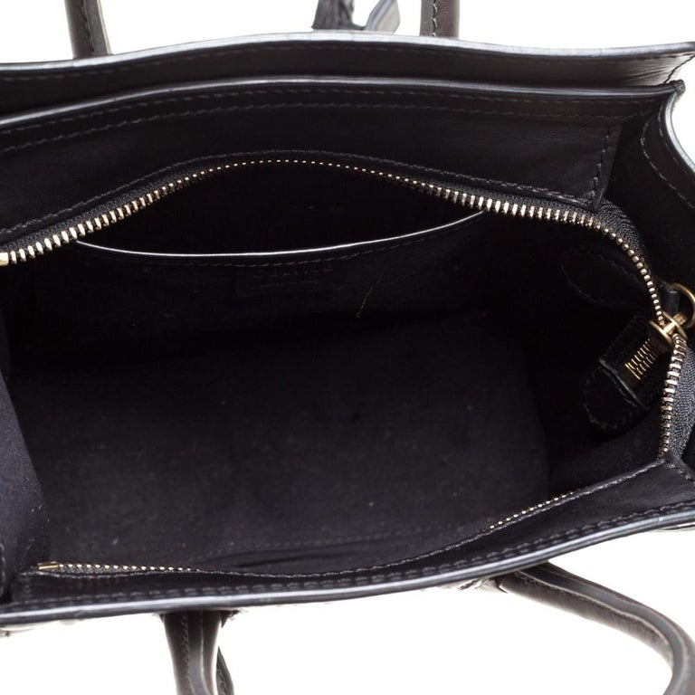 Celine Green/Black Leather Nano Luggage Tote For Sale 6