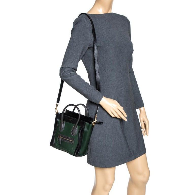 Celine Green/Black Leather Nano Luggage Tote In Good Condition For Sale In Dubai, Al Qouz 2