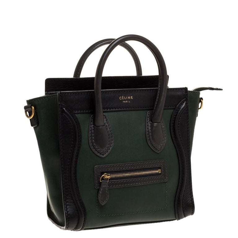 Women's Celine Green/Black Leather Nano Luggage Tote For Sale