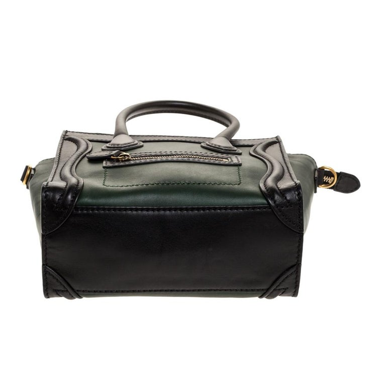Celine Green/Black Leather Nano Luggage Tote For Sale 1