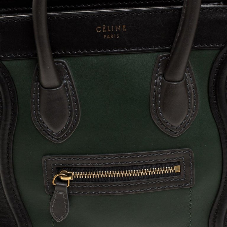 Celine Green/Black Leather Nano Luggage Tote For Sale 2