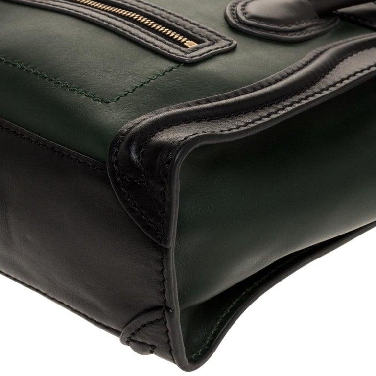 Celine Green/Black Leather Nano Luggage Tote For Sale 3