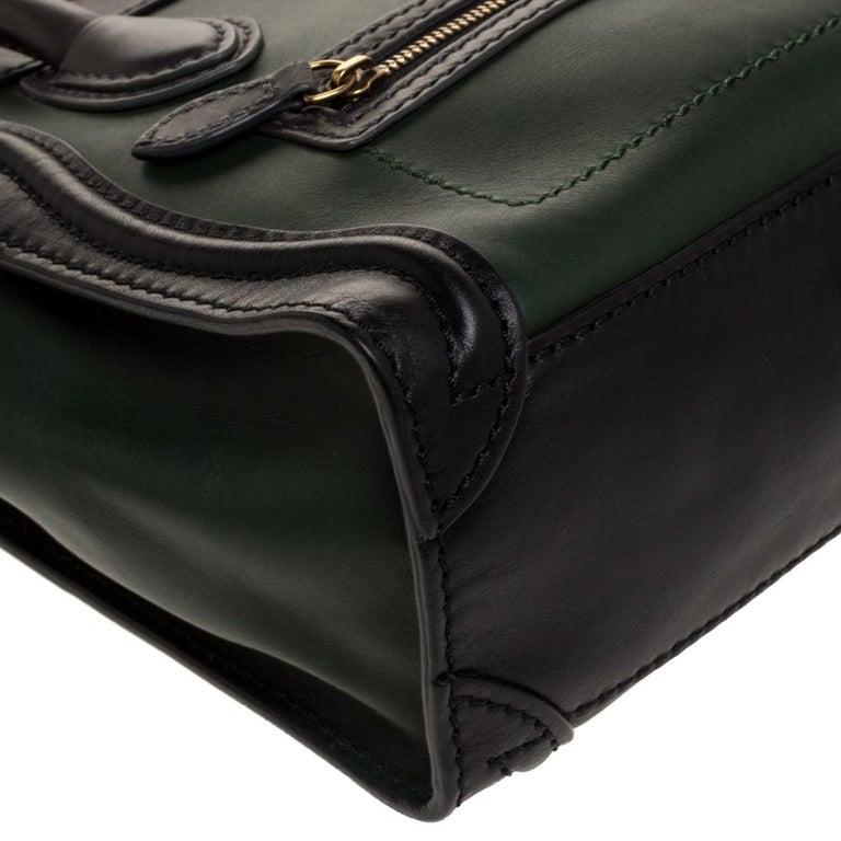 Celine Green/Black Leather Nano Luggage Tote For Sale 4