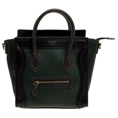 Celine Green/Black Leather Nano Luggage Tote