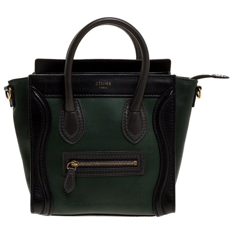 Celine Green/Black Leather Nano Luggage Tote For Sale