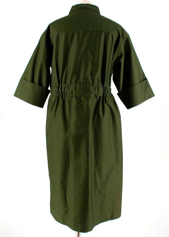Black  Celine Green Cotton Utility Dress - Size US 10 For Sale