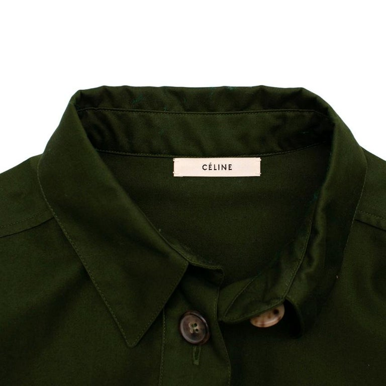 Celine Green Cotton Utility Dress - Size US 10 In New Condition For Sale In London, GB