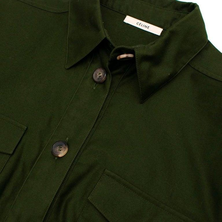 Women's  Celine Green Cotton Utility Dress - Size US 10 For Sale